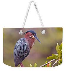 The Green Heron At Blue Hole Weekender Tote Bag