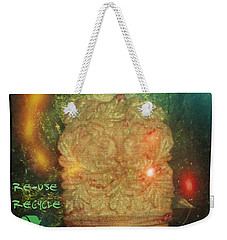 Weekender Tote Bag featuring the photograph The Green Man - Recycle by Absinthe Art By Michelle LeAnn Scott
