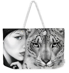 Weekender Tote Bag featuring the painting The Guardian by Pat Erickson