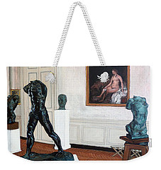 Weekender Tote Bag featuring the painting The Hotel Biron by Tom Roderick