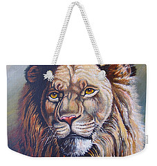 Weekender Tote Bag featuring the painting The King by Anthony Mwangi