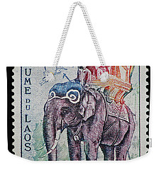 Weekender Tote Bag featuring the photograph The King's Elephant Vintage Postage Stamp Print by Andy Prendy