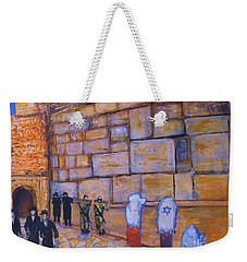 Weekender Tote Bag featuring the painting The Kotel by Donna Dixon