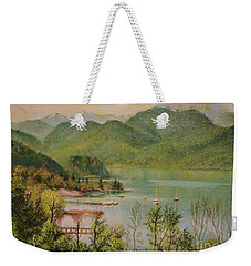 Weekender Tote Bag featuring the painting The Lake by Sorin Apostolescu