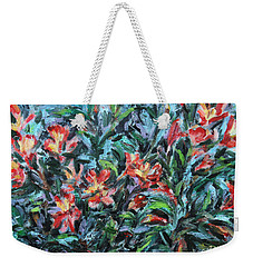 Weekender Tote Bag featuring the painting The Late Bloomers by Xueling Zou