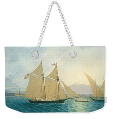 The Launch La Sociere On The Lake Of Geneva Weekender Tote Bag by Francis  Danby