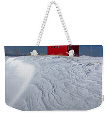 The Lighthouse Big Red During Winter In Holland Michigan Weekender Tote Bag by Randall Nyhof