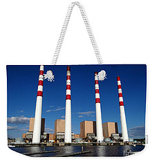 Weekender Tote Bag featuring the photograph The Lilco Towers by Ed Weidman