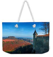 The Lilienstein Behind The Fortress Koenigstein Weekender Tote Bag