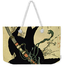 The Little Raven With The Minamoto Clan Sword Weekender Tote Bag by Katsushika Hokusai