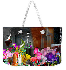 Weekender Tote Bag featuring the digital art The Long Collage by Cathy Anderson