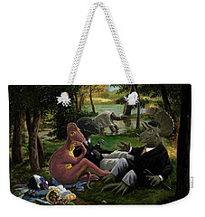 Weekender Tote Bag featuring the painting The Luncheon On The Grass With Dinosaurs by Martin Davey