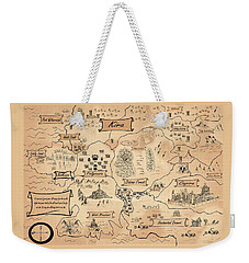Weekender Tote Bag featuring the painting The Map Of Kira by Reynold Jay