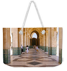 Weekender Tote Bag featuring the photograph The Massive Colonnades At The Hassan II Mosque Sour Jdid Casablanca Morocco by Ralph A  Ledergerber-Photography
