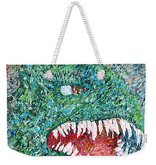 The Might That Came Upon The Earth To Bless - Godzilla Portrait Weekender Tote Bag by Fabrizio Cassetta