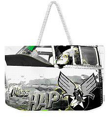 Weekender Tote Bag featuring the photograph The Miss Hap by Kathy Barney