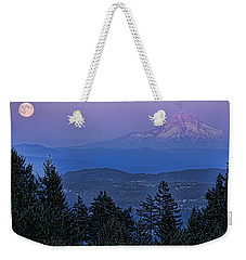 The Moon Beside Mt. Hood Weekender Tote Bag by Don Schwartz