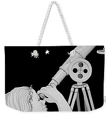 Weekender Tote Bag featuring the digital art The Moon Looks Back by Carol Jacobs