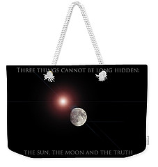 Weekender Tote Bag featuring the photograph The Moon by Pennie  McCracken