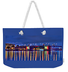 Weekender Tote Bag featuring the photograph Morrison Bridge Reflections by Thom Zehrfeld