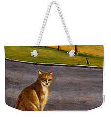 Weekender Tote Bag featuring the painting The Obscure Communication Between Cats by Jingfen Hwu