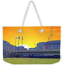The Old And New Yankee Stadiums Side By Side At Sunset Weekender Tote Bag by Nishanth Gopinathan