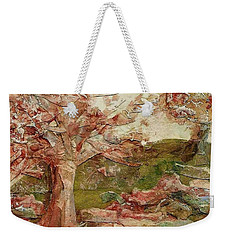 Weekender Tote Bag featuring the painting The Old Fence Line by Mary Wolf