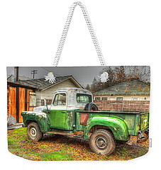 Weekender Tote Bag featuring the photograph The Old Green Truck by Jim Thompson