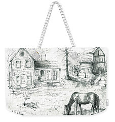 Weekender Tote Bag featuring the painting The Old Horse Farm by Bernadette Krupa
