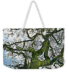 The Old Mossy Oak Tree Against Cloudy Sky Weekender Tote Bag