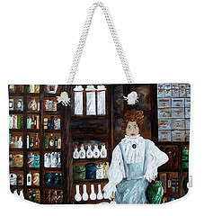 Weekender Tote Bag featuring the painting The Old Pharmacy ... Medicine In The Making by Eloise Schneider