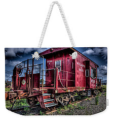 Weekender Tote Bag featuring the photograph Old Red Caboose by Thom Zehrfeld