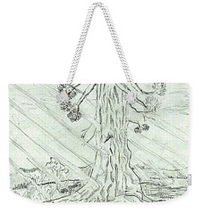 Weekender Tote Bag featuring the drawing The Old Tree In Spring Light  - Sketch by Felicia Tica