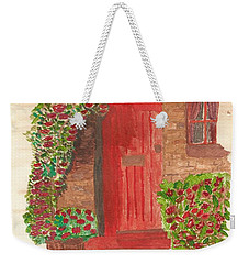Weekender Tote Bag featuring the painting The Orange Door by Tracey Williams