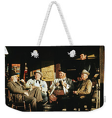 Weekender Tote Bag featuring the photograph The Over The Hill Gang  Johnny Cash Porch Old Tucson Arizona 1971 by David Lee Guss