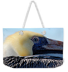 Weekender Tote Bag featuring the photograph The Pelican by AJ  Schibig