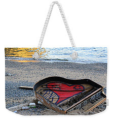 The Piano In New York Harbor Weekender Tote Bag