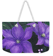 Weekender Tote Bag featuring the painting The President Clematis by Sharon Duguay