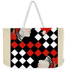 Weekender Tote Bag featuring the painting The Queen On Her Card by Carol Jacobs