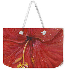 Weekender Tote Bag featuring the painting The Red Hibiscus In Dew Time by Carol Wisniewski