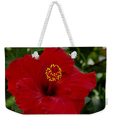 Red Hibiscus Weekender Tote Bag by James C Thomas