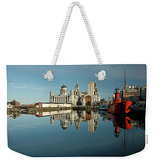 Weekender Tote Bag featuring the photograph The Red Ship by Jonah  Anderson