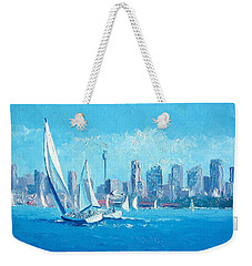 The Regatta Sydney Habour By Jan Matson Weekender Tote Bag by Jan Matson