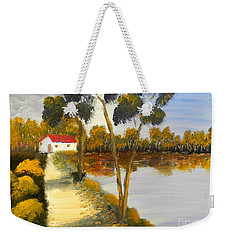 Weekender Tote Bag featuring the painting The Riverhouse by Pamela  Meredith