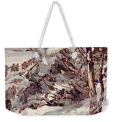 The Russians Fighting Their Way Over The Carpathians Weekender Tote Bag by Cyrus Cuneo