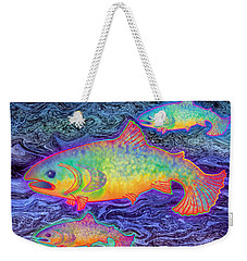 Weekender Tote Bag featuring the mixed media The Salmon King by Teresa Ascone