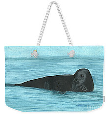 Weekender Tote Bag featuring the painting The Seal by Tracey Williams