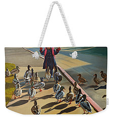 Weekender Tote Bag featuring the painting The Sidewalk Religion by Thu Nguyen