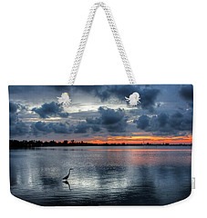 Weekender Tote Bag featuring the photograph The Solitary Fisherman - Florida Sunset by HH Photography of Florida