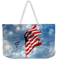 The Star Spangled Banner Yet Waves Weekender Tote Bag by Lydia Holly